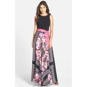 NEW Eliza J Twofer Jersey Scarf Print Maxi Dress